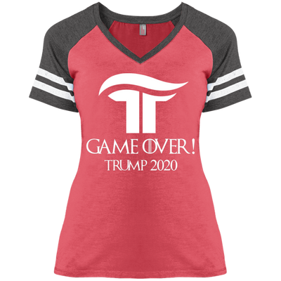 Women's GOT Game Over Trump 2020 V-Neck Baseball Tee - White - The Trumptastic Shop