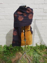 Load image into Gallery viewer, in various states | Tasmania | Linen Scarf in Black with Copper Print | Made in Tasmania