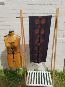 Linen Scarf in Black with Copper Print | Made in Tasmania