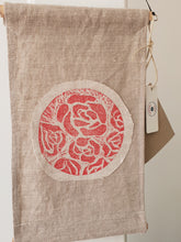 Load image into Gallery viewer, Linen wall hanging with Japanese roses design