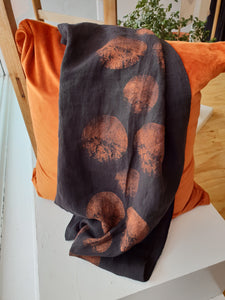 Linen Scarf in Black with Copper Print