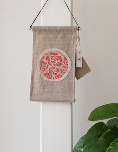 Linen wall hanging with Japanese roses design
