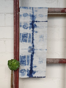 Linen Tea towel | Oatmeal | Hand dyed | Indigo Blue
