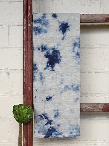 Linen Tea towel | Oatmeal | Hand dyed | Indigo Blue #1