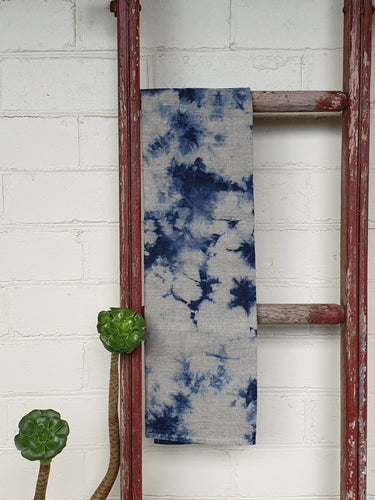 Linen Tea towel | Flax | Hand dyed | Indigo Blue #1