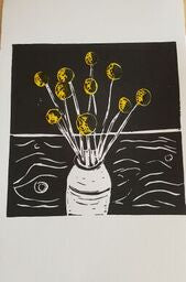 in various states |  Tasmania | Lino print in yellow, white and black