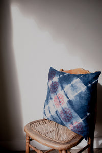 in various states | Tasmania | Flax Cushion Cover in Indigo with Lotus Print