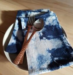 in various states | Tasmania | Linen Napkin Duo | Off White & Indigo Blue
