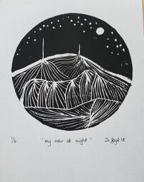 in various states | Tasmania| black and white lino print