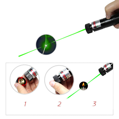 5MW Multipurpose Adjustable Focus Burning Match Starry Sky Green Laser Pen - Self Defense T-shirts & Accessories
