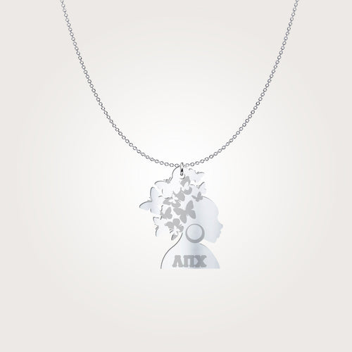 Lambda Pi Chi Butterfly Haired Woman Sterling Silver 925 Lavalier