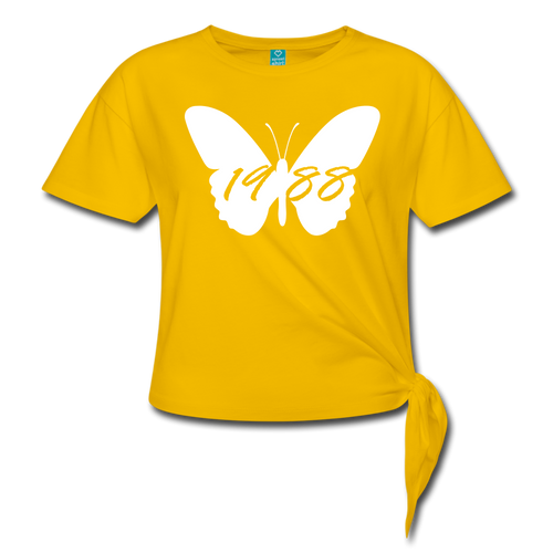 Lambda Pi Chi Butterfly 1988 Knotted Shirt - sun yellow