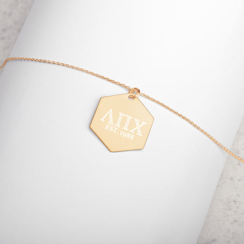 Lambda Pi Chi Engraved Silver Hexagon Necklace