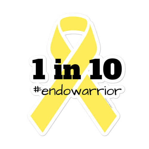1 in 10 Endometriosis Awareness Bubble-free stickers