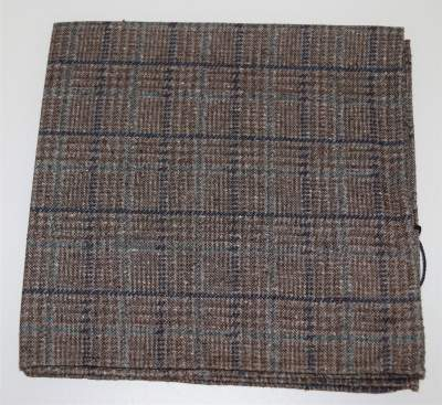 Brown checkered pocket square Profuomo