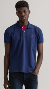 Light blue cotton polo with contrast collar Gant - 2052003