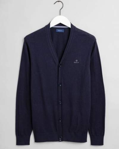 Navy cotton-cashmere cardigan with buttons Gant - 8050083