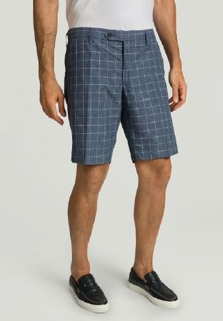 Blue checkered cotton-linnen shorts Hackett - HM801159