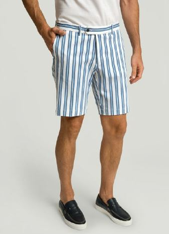 Blue striped cotton short Hackett - HM801162