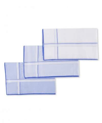 3-Pack white-blue cotton handkerchiefs Profuomo