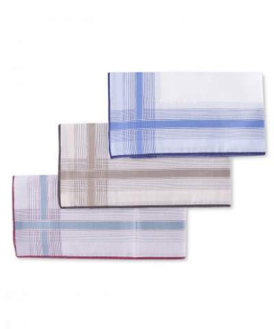 3-Pack white coloured cotton handkerchiefs Profuomo