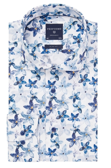 Blue shirt with flowers Profuomo - PPRH1A1094