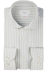 Light green striped hyperstretch slim fit shirt Profuomo - PPSH1C1054