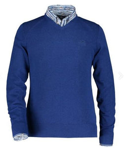 Cobalt cotton V-neck pullover State of Art - 10148