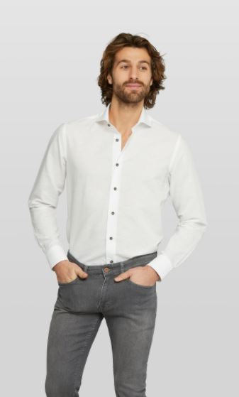 White cotton-linnen slim fit shirt Van Gils - 1511VG00028