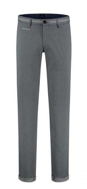 Blue grey checkered slim fit cotton trousers Steam Zilton - 28
