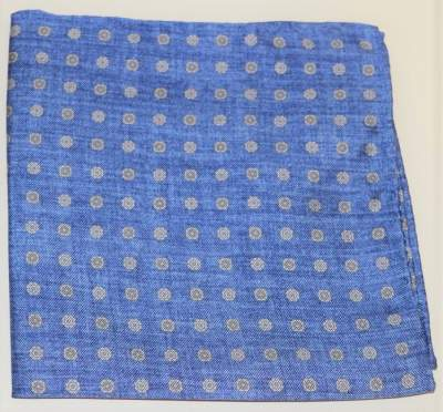 Blue silk pocket square with dots Profuomo - PPRN10014B