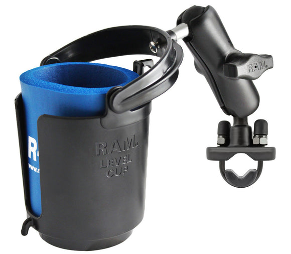 RAM Handlebar Rail Mount With Zinc Coated U-Bolt Base And Level Cup™ Drink Holder With Stubbie Holder (RAM-B-132RU)