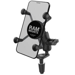 RAM Fork Stem Mount With Short Double Socket Arm & Universal X-Grip Phone Cradle (RAM-B-176-A-UN7U)