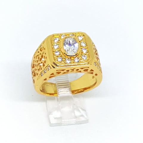 wazin - Gold Overlay CZ Ring for Men. (2 colors available) -