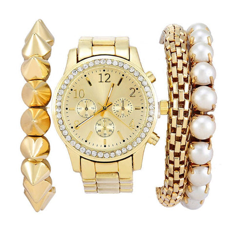 Women's Geneva Watch Jewelry Set