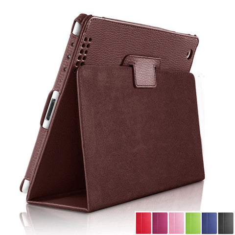 wazin - For Apple ipad 2 3 4 Case Auto Flip Litchi PU Leather Cover For New ipad 2 ipad 4 Smart Stand Holder Folio Case - iPad Cover