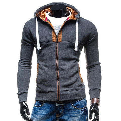 wazin - Men's Casual Zipped Up Hoodie Jacket -