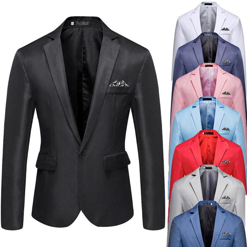 wazin - Men's Stylish Casual Solid Blazer Business Wedding Party Outwear Coat Suit Tops -