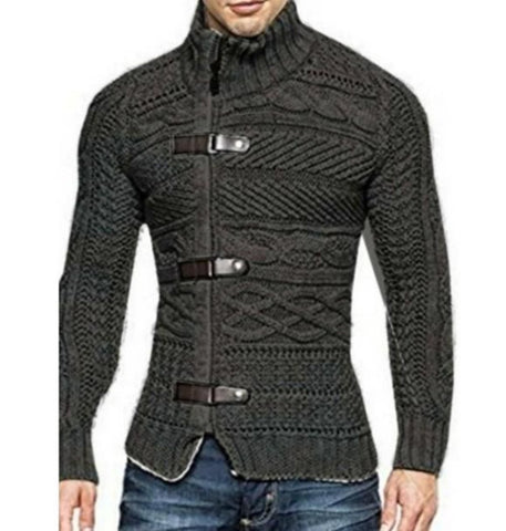 wazin - Men High Collar Slim Fit Cardigan in Dark Gray -