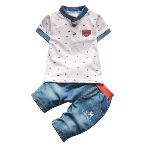 wazin - Baby Boy Print Shirt + Jeans Clothing Set -