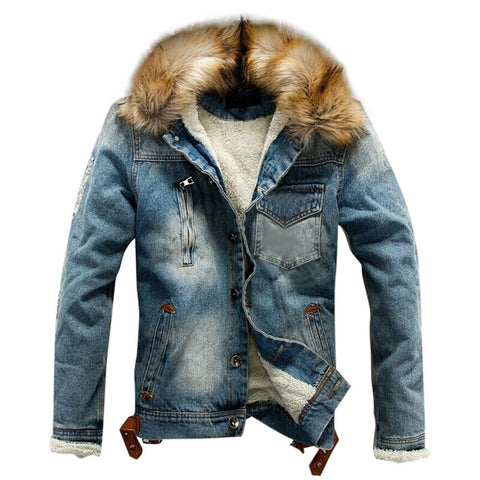 wazin - Denim Fur Trimmed Hooded Jacket -