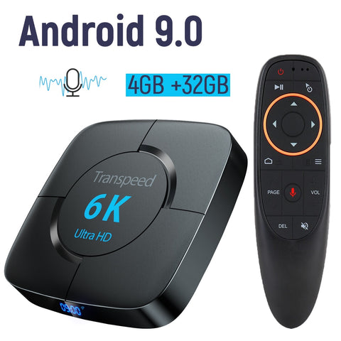 wazin - Smart Set top Box Android 9.0 4G 32G TV BOX 6K Youtube Google Assistant 3D Video TV receiver Wifi Bluetooth TV Box  Play Store -