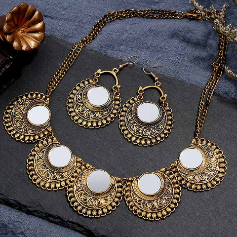 wazin - Women Gold Copper Choker Necklaces Earrings Set -