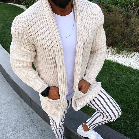 wazin - Knitted Casual Men Sweater Coat Pockets Tricot Cardigan -