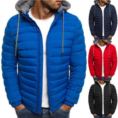 wazin - Men's Hooded Zippered Puffer Coat -