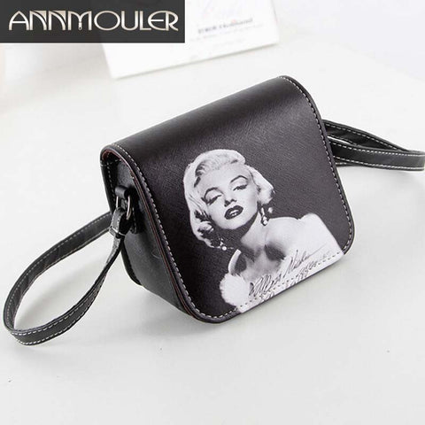 wazin - Women Leather Bag Marilyn Monroe Printed Small Shoulder Bag -
