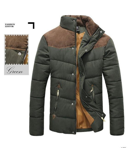 wazin - Mens Stand Collar Puffer Jacket in Army Green -