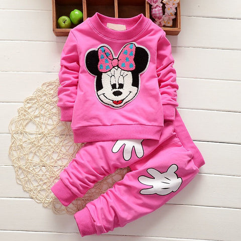 wazin - 2017 Newborn Baby Girls Clothes Set Cartoon Long Sleeved Tops + Pants 2PCS Outfits Kids Bebes Clothing Childrens Jogging Suits -