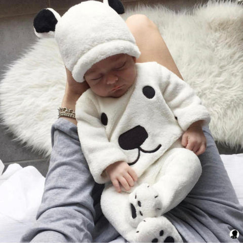 wazin - 3Pcs Newborn Baby Girls Boy Long Sleeve Pullovers Top Footies Pants Hat Outfits Set Fluffy Cute Cartoon Winter Warm Clothes -