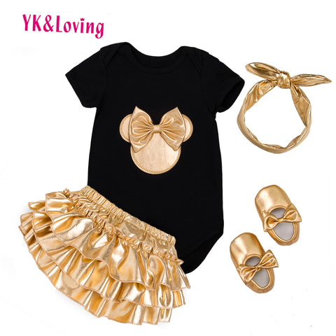wazin - Baby Girl 4pcs sets Black Cotton Rompers Golden Ruffle Bloomers Shorts Shoes Headband  Newborn Clothes - Baby Girl